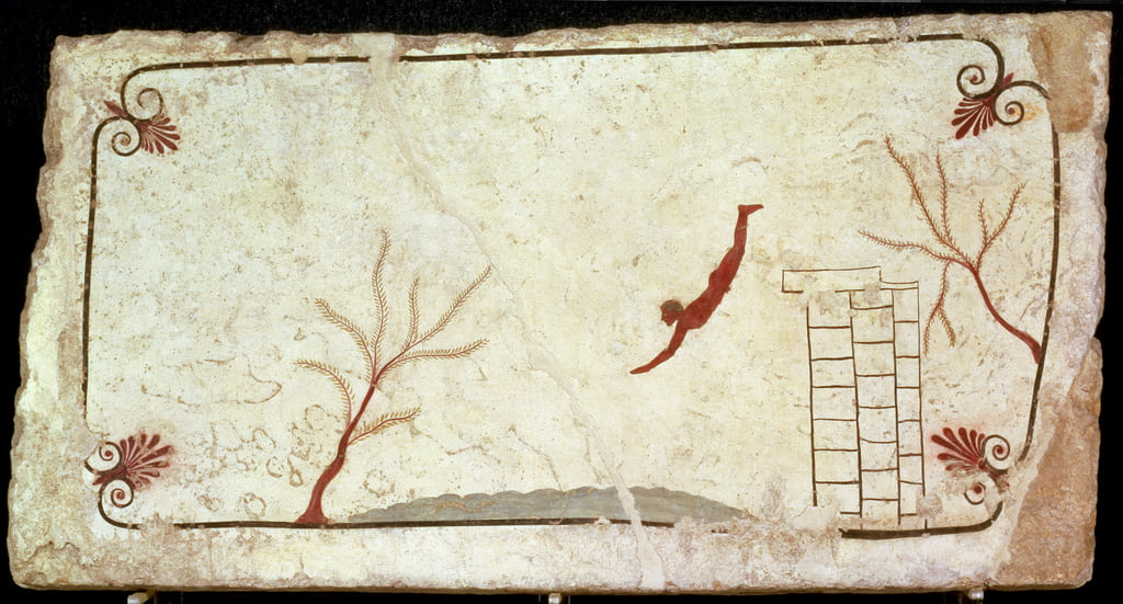 Painting from the Tomb of the Diver from the southern cemetery at Paestum, 480-470 BC  by Etruscan