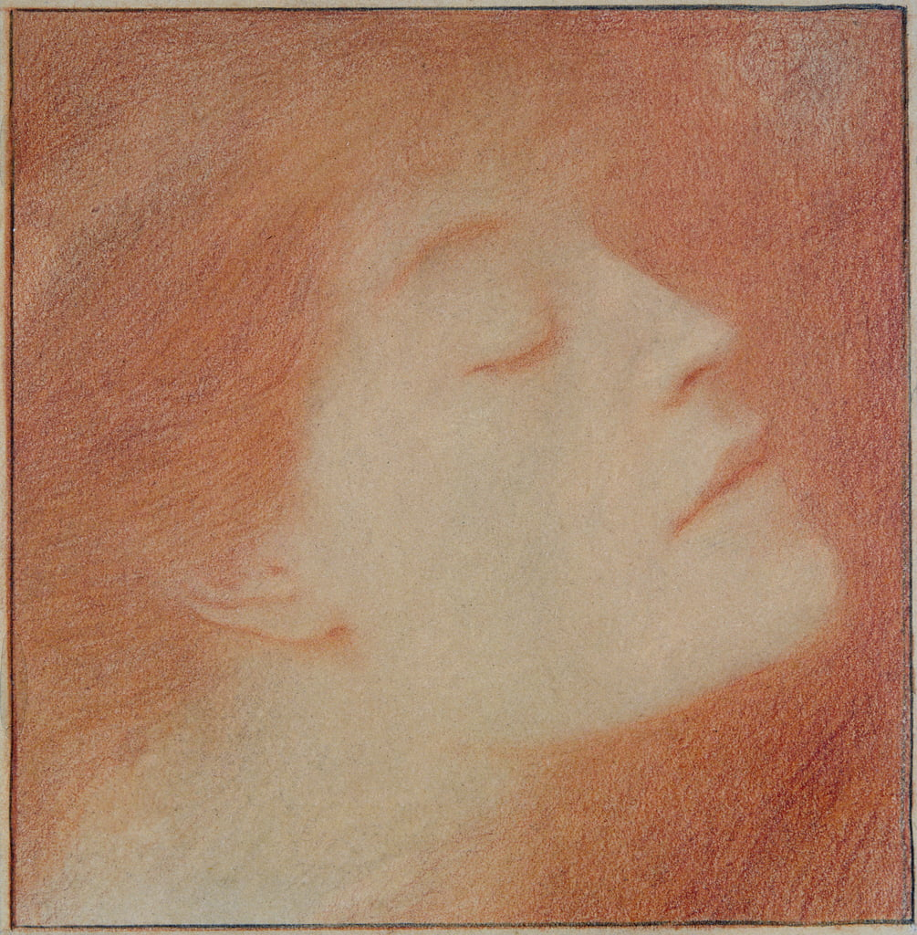 Head of a Woman, 1892 (chalk on paper) by Fernand Khnopff
