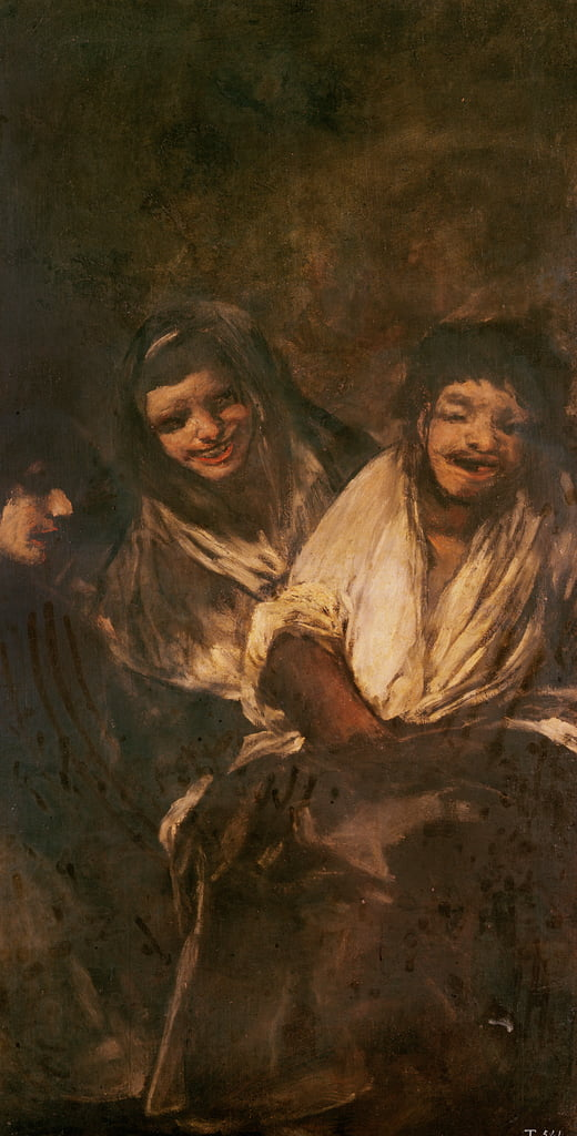 A Man and Two Women Laughing  by Francisco de Goya