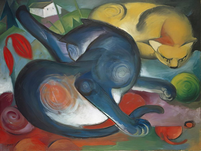 Two Cats, Blue and Yellow, 1912  by Franz Marc