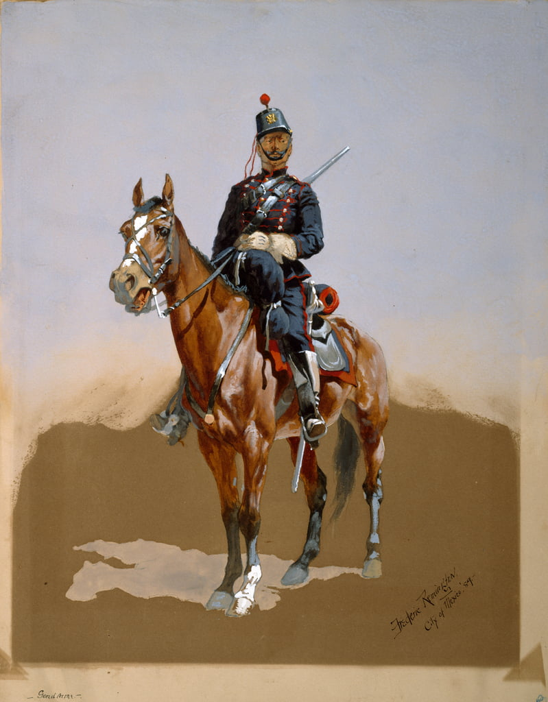 The Gendarme, 1889 (wc, ink & gouache on paper) by Frederic Remington