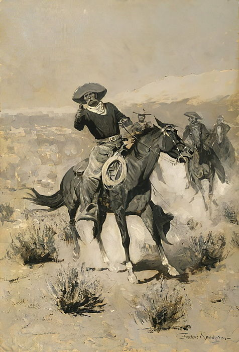 Days on the Range (Hands Up) c.1902  by Frederic Remington