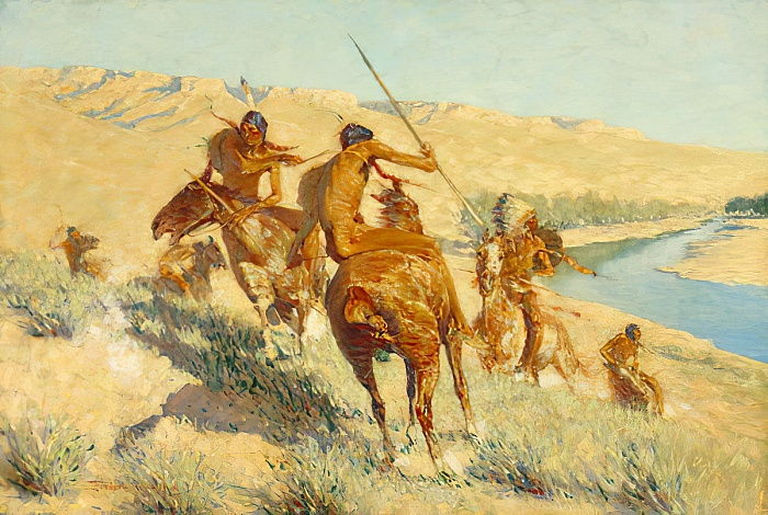 Episode of the Buffalo Gun (The Visitation of the Buffalo Gun: A Buffalo Episode) 1909  by Frederic Remington