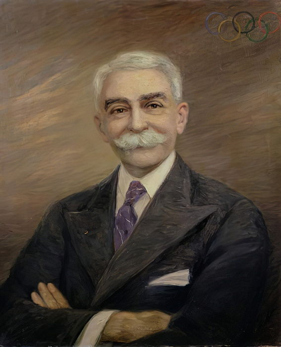 Portrait of Baron Pierre de Coubertin (1863-1937)  by French School