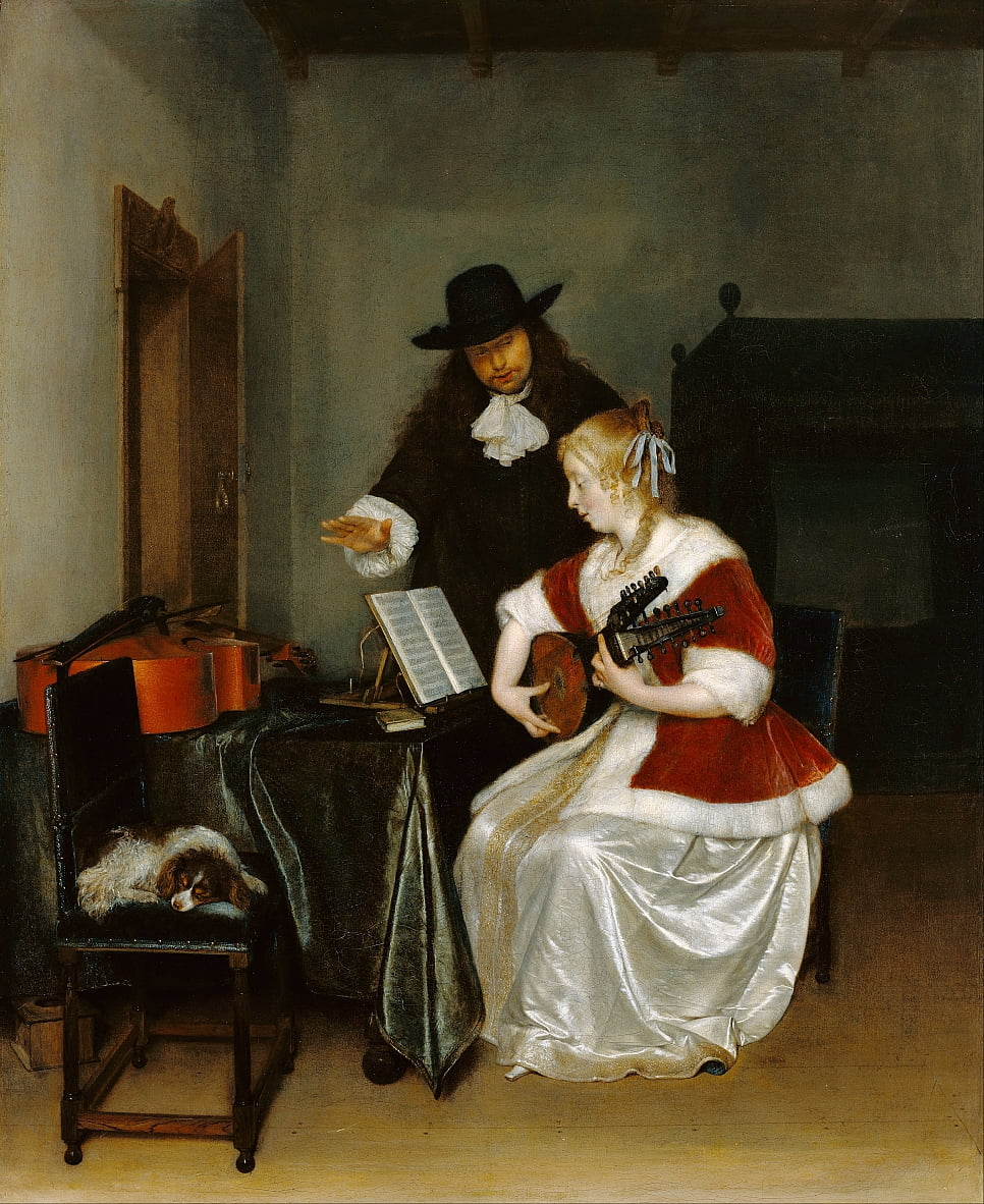 The Music Lesson by Gerard ter Borch or Terborch
