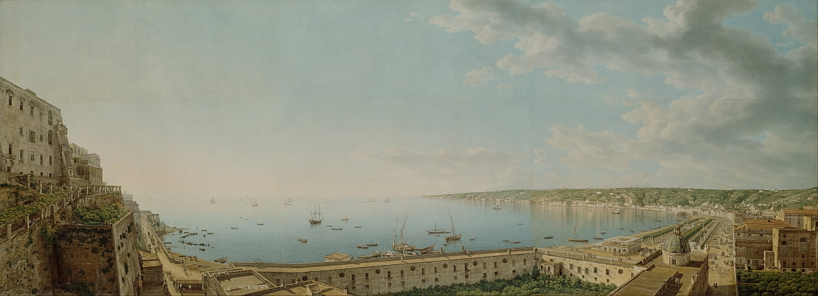 A View of the Bay of Naples, Looking Southwest from the Pizzofalcone Toward Capo di Posilippo by Giovanni Battista Lusieri