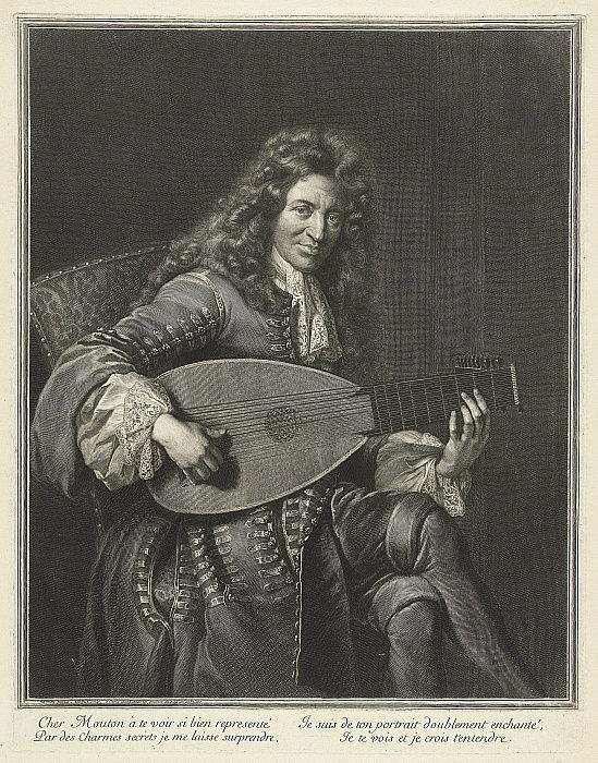 Portrait of the Lutenist and Composer Charles Mouton c. 1626-1710, ca. 1695 by Gérard Edelinck