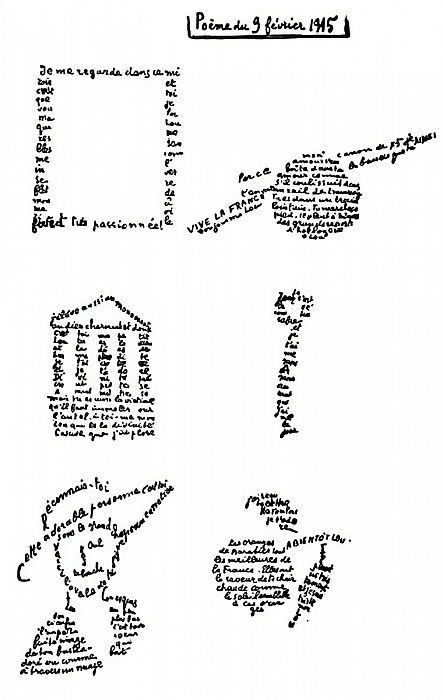 Calligram, poem, 9th February 1915 by Guillaume Apollinaire