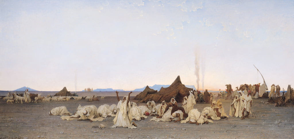 Evening Prayer in the Sahara, 1863  by Gustave Guillaumet