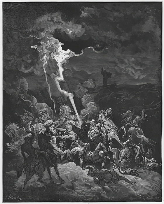 Gustave Dore Bible: Elijah destroys the messengers of Ahaziah by fire by Gustave Dore