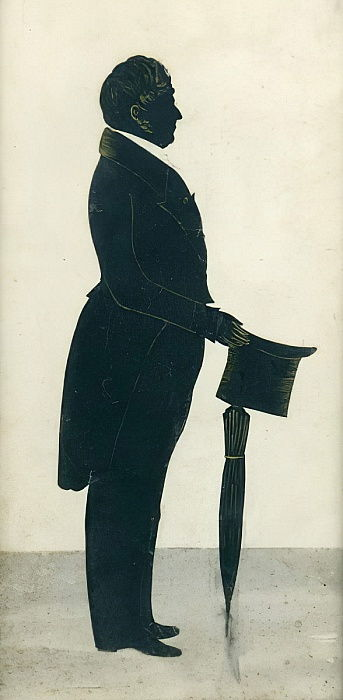 Silhouette of a Man with a Top Hat, Frock coat and Umbrella  by J. Gapp