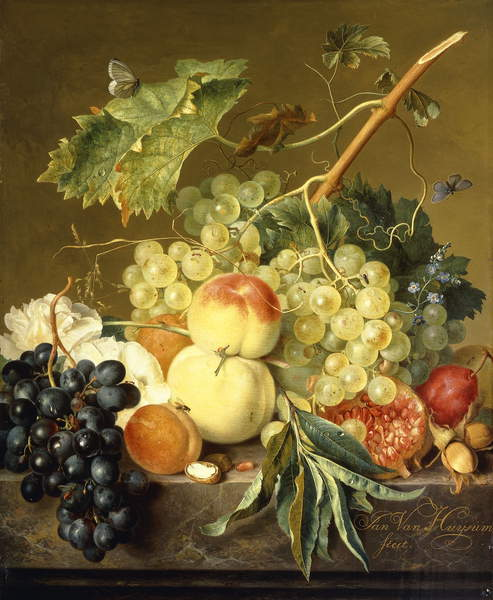 Fruit, Hazelnuts and Hollyhocks on a Marble Ledge,  by Jan van Huysum
