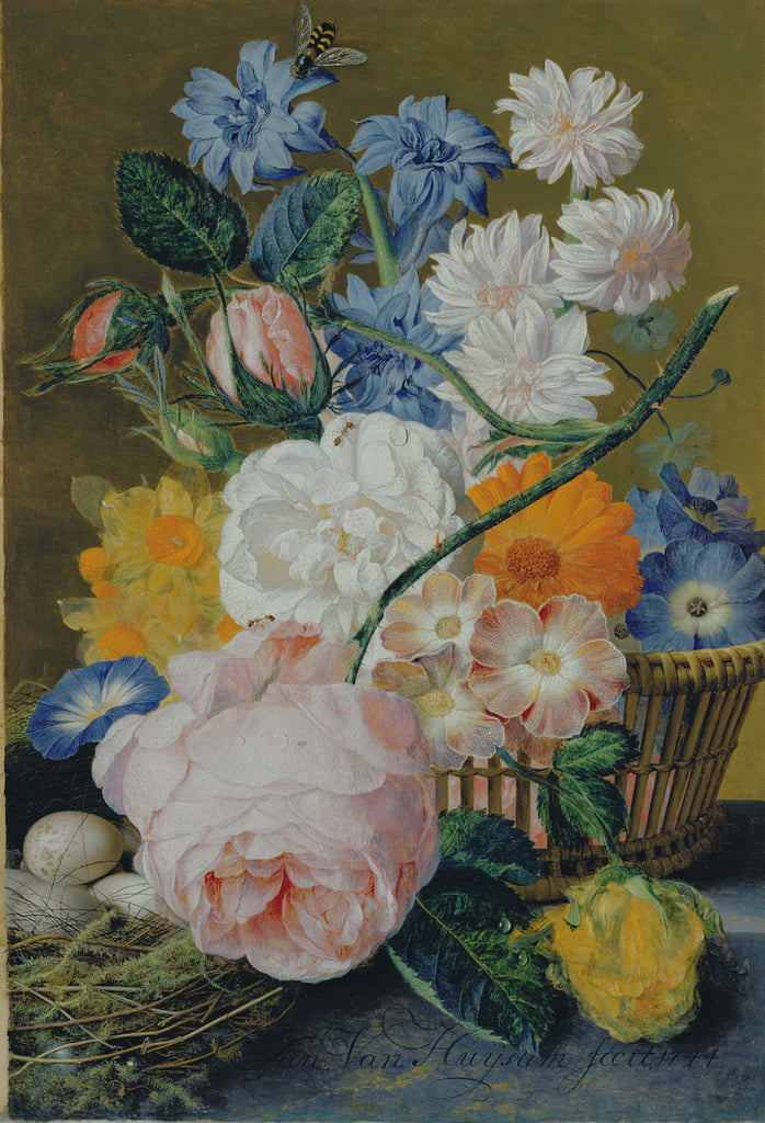 Roses, morning glory, narcissi, aster and other flowers in a basket, with eggs in a nest on a marble ledge, 1744  by Jan van Huysum
