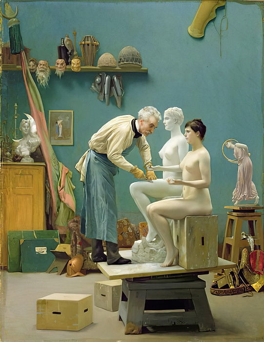 Working in Marble, or the artist sculpting Tanagra by Jean Leon Gerome