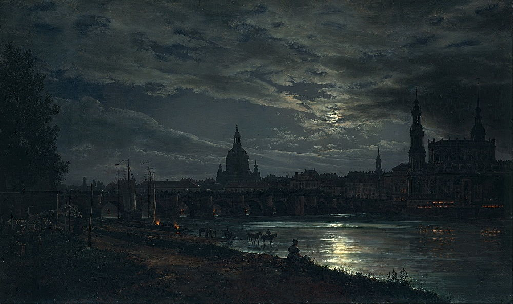 View of Dresden by Moonlight by Johan Christian Dahl