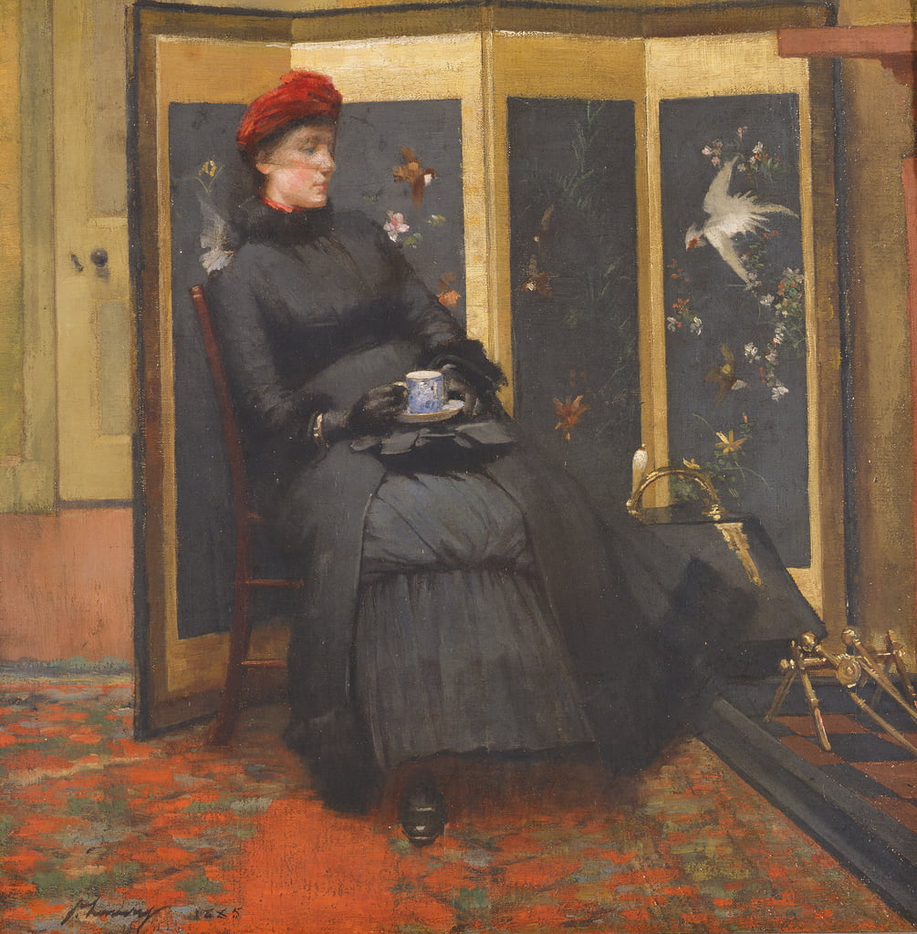A Visitor, 1885  by John Lavery