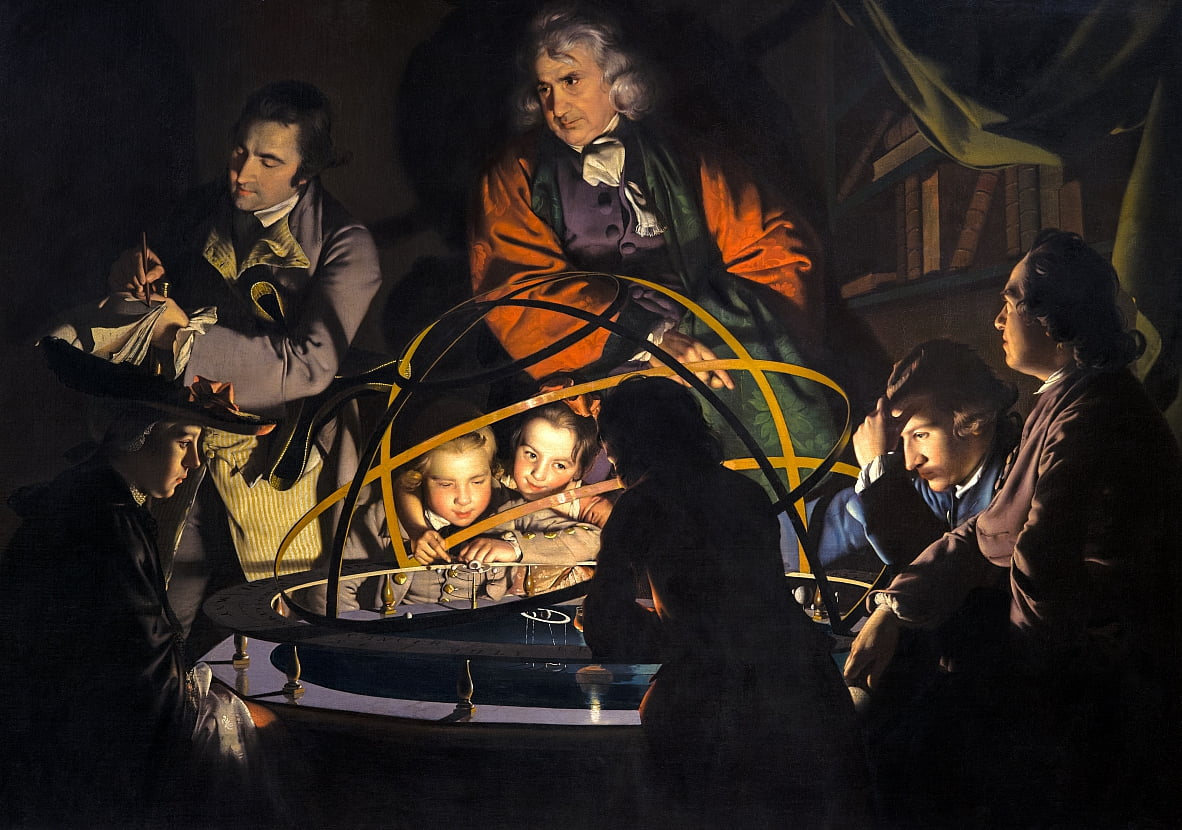 Untitled, known as A Philosopher Giving that Lecture on the Orrery, in which a Lamp is put in place of the Sun or The Orrery by Joseph Wright of Derby