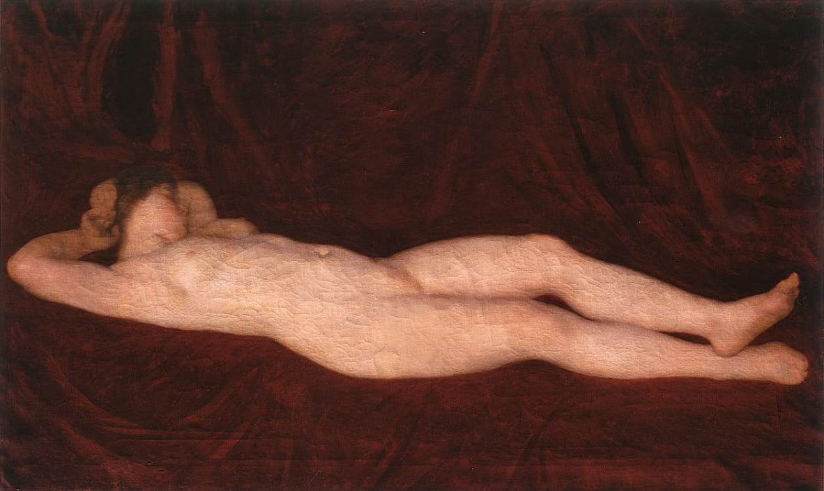 Nude in Red Background by Károly Ferenczy