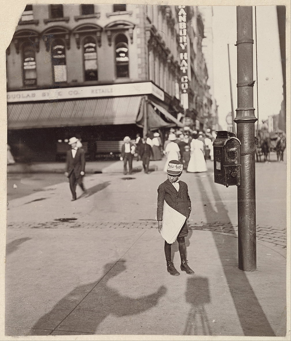 Self-Portrait with Newsboy by Lewis Wickes Hine