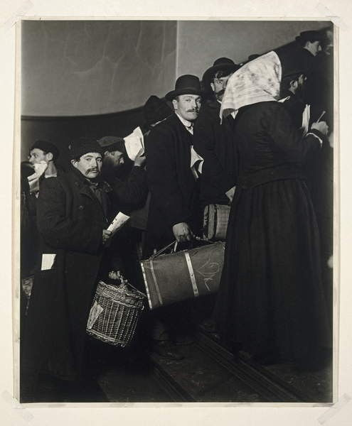 Climbing into the Promised Land, Ellis Island, 1908 (gelatin silver photo) by Lewis Wickes Hine