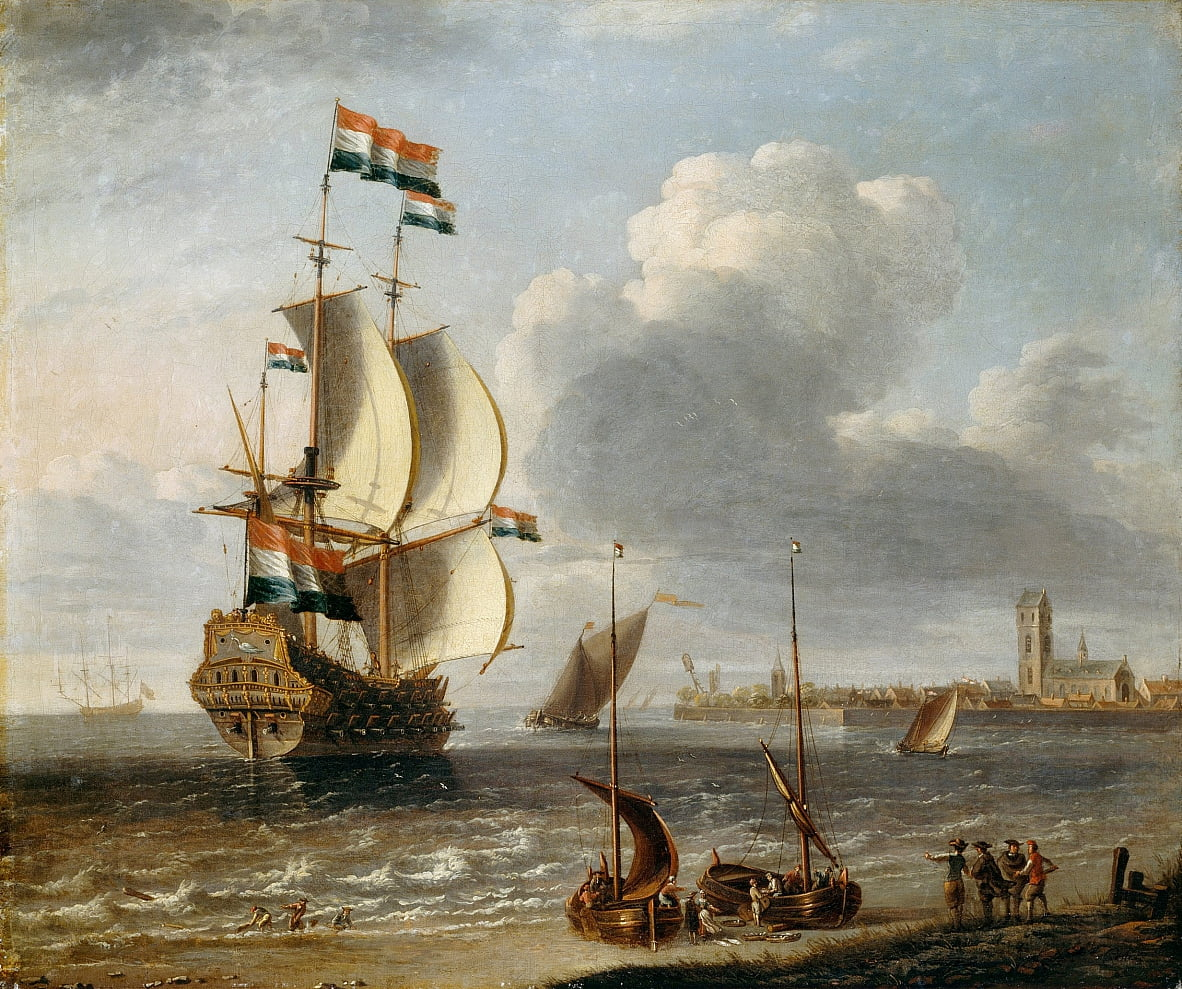 A Dutch East-Indiaman off Hoorn by Lorenzo a Castro