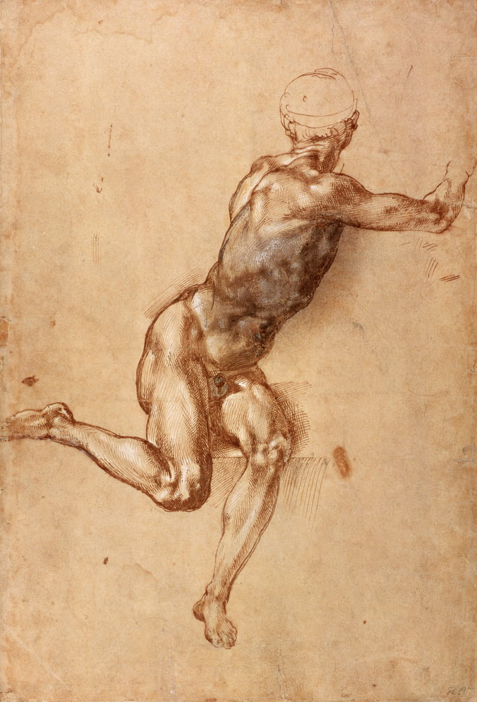 A seated male nude twisting around, c.1505 (pen und ink with wash on paper) by Michelangelo Buonarroti