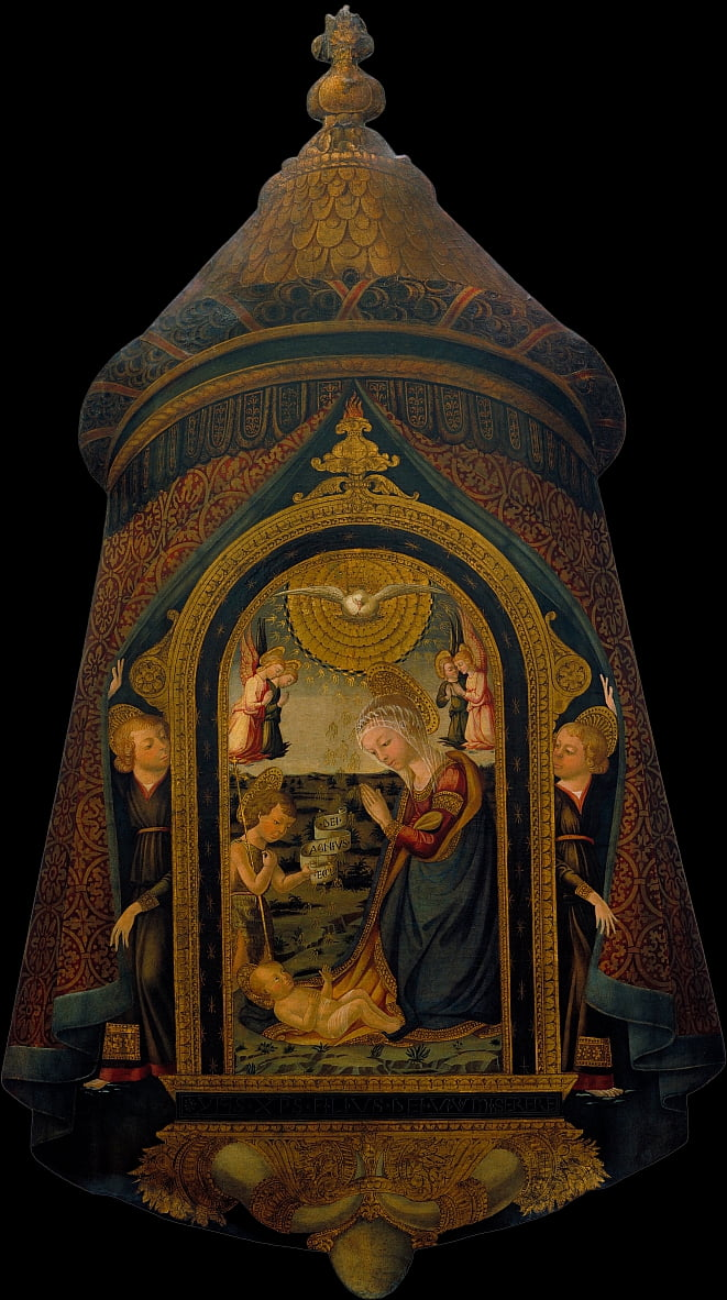 Processional Standard with the Adoration of the Child by the Virgin, Saint John Baptist and Angels by Neri di Bicci