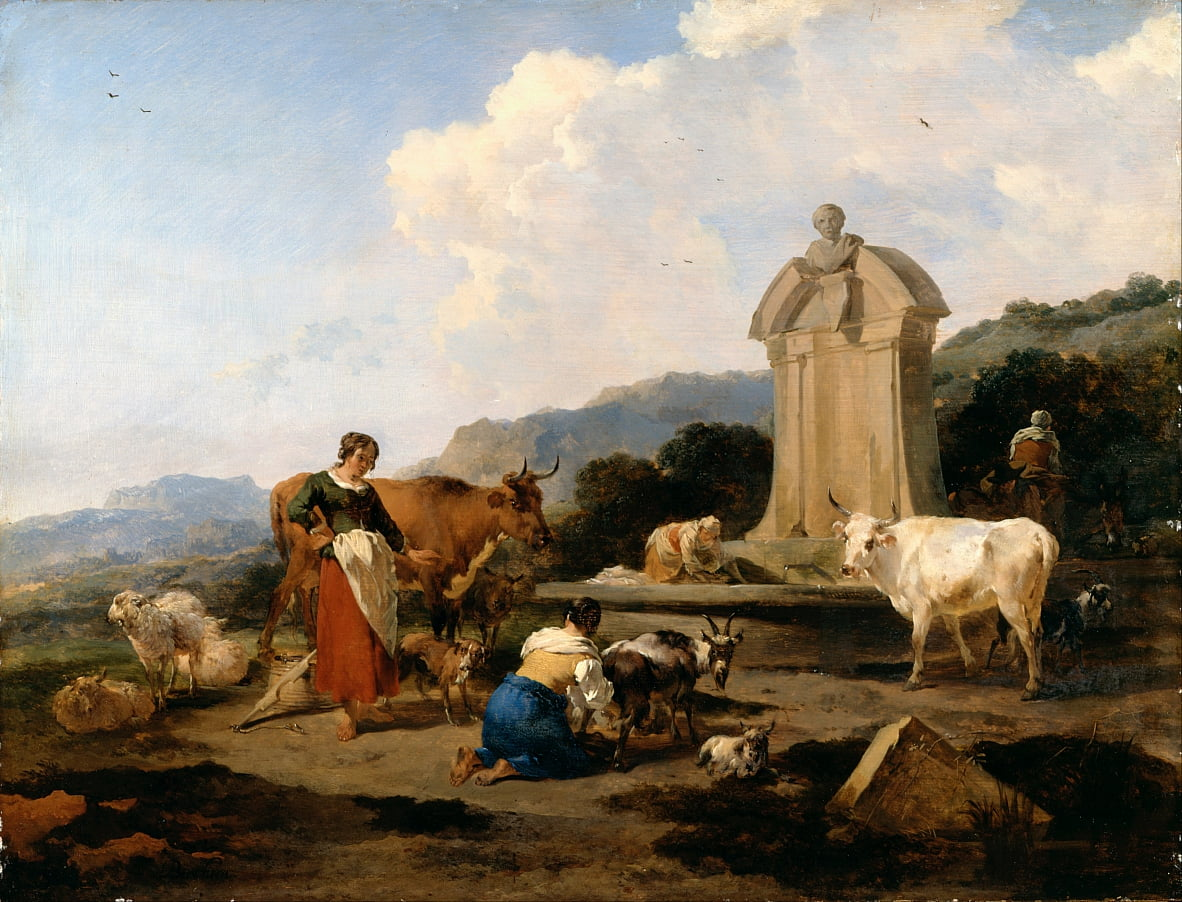 Roman Fountain with Cattle and Figures (Le Midi) by Nicolaes Pietersz. Berchem