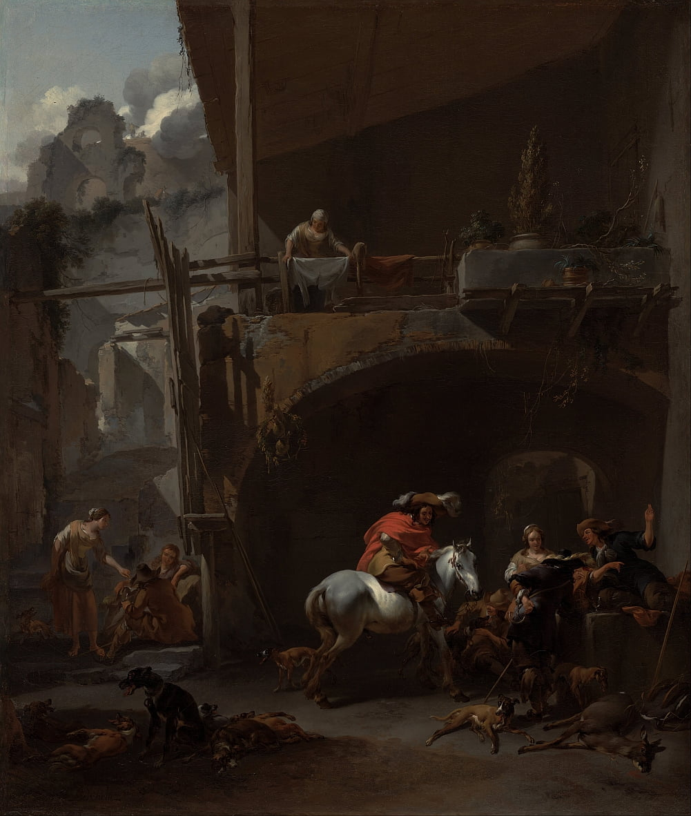 The Return from the Hunt by Nicolaes Pietersz. Berchem