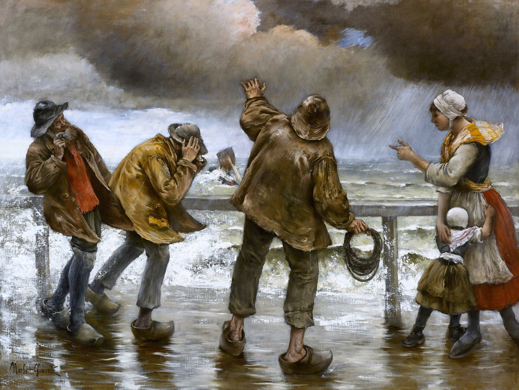 Villagers on the Jetty during a Rainstorm  by Norbert Goeneutte