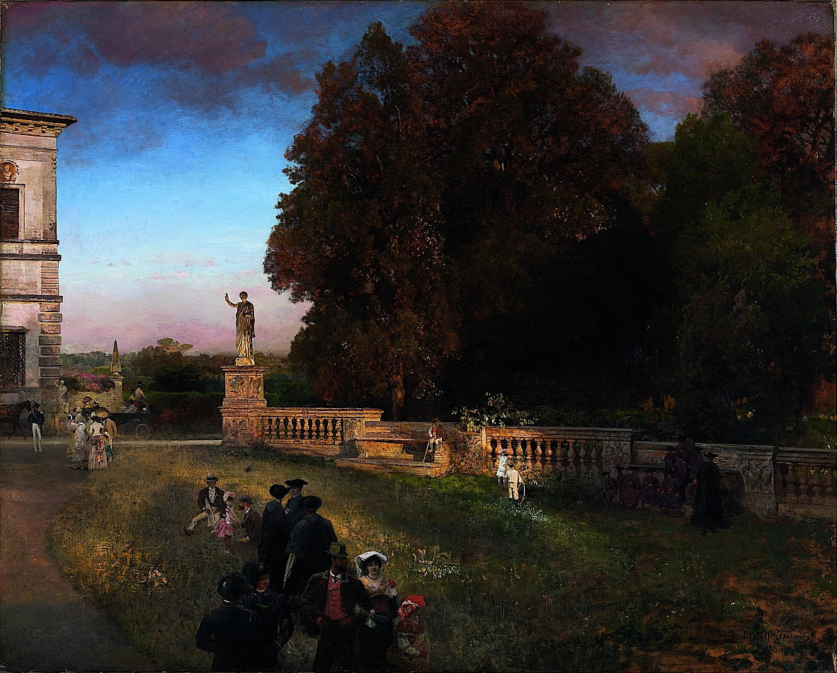 In the Park of the Villa Borghese by Oswald Achenbach