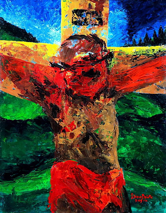 Crucifixion- it is finished, 2009 (acrylic on canvas) by Patricia Brintle