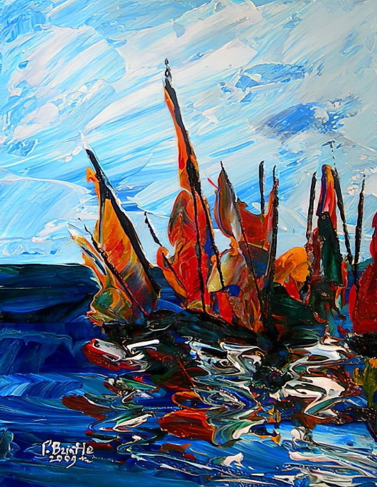 Voiliers au port a bainet, 2009 (acrylic on wood) by Patricia Brintle