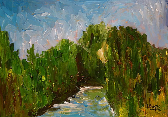 Winding river, 2009 (acrylic on wood) by Patricia Brintle