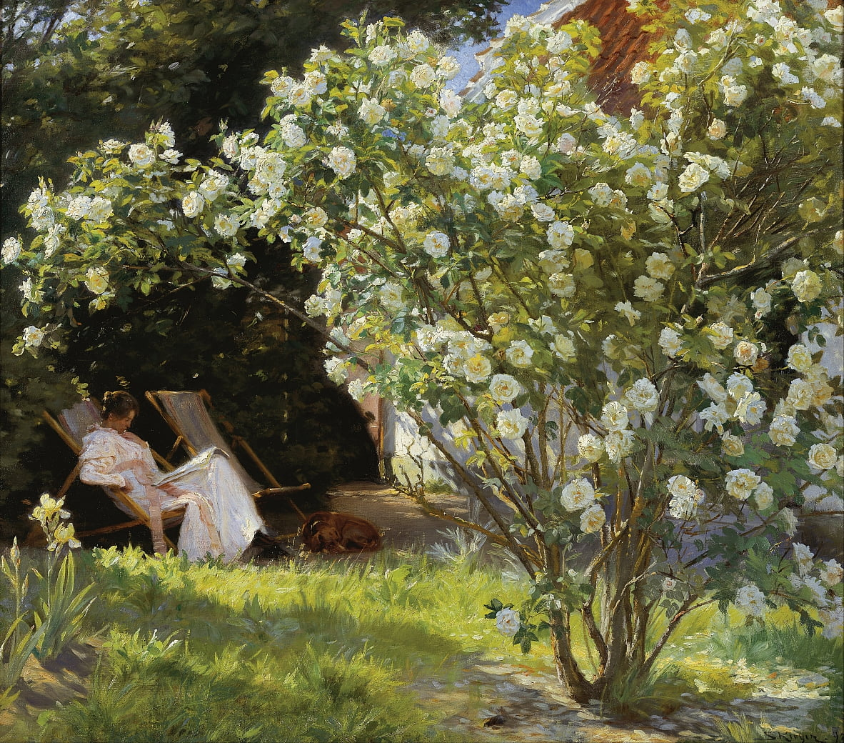 Marie Kroyer seated in the deckchair in the garden by Mrs Bendsens house by Peder Severin Krøyer