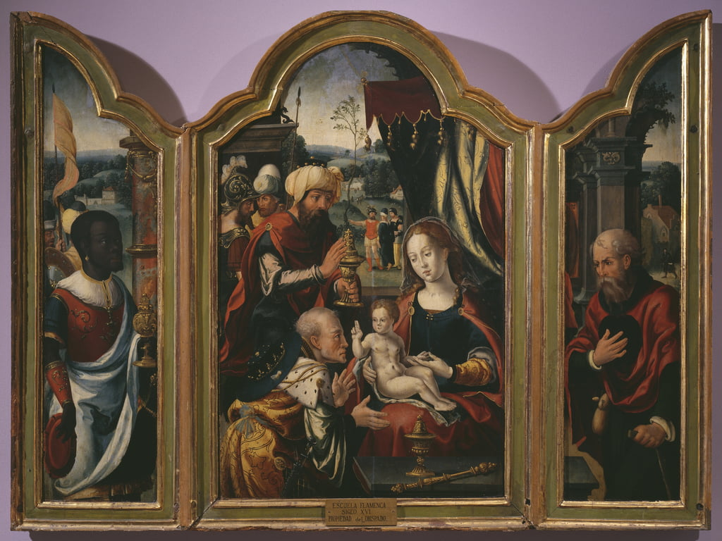 Adoration of the Magi, Epiphany Triptych, c.1540  (see also 345853) by Pieter Coecke van Aelst