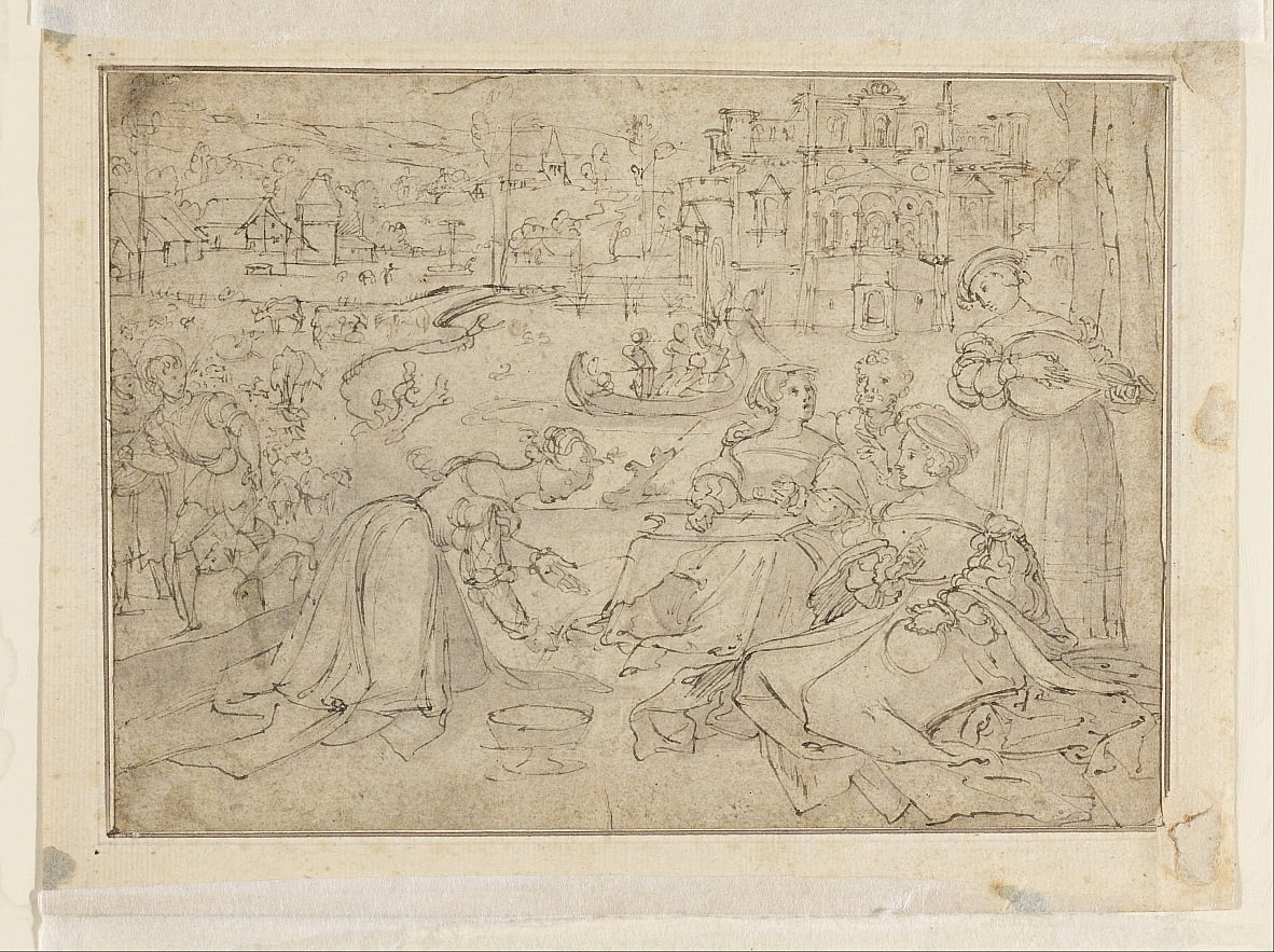 Recto: The Month of April (Figures in a park near a castle) by Pieter Coecke van Aelst