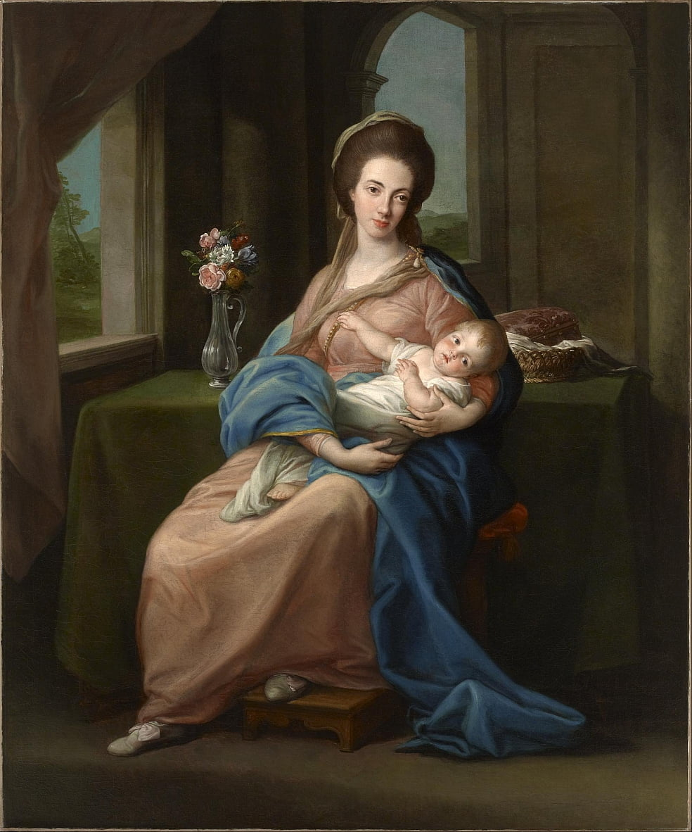 The Marchioness of Headfort Holding Her Daughter Mary by Pompeo Girolamo Batoni