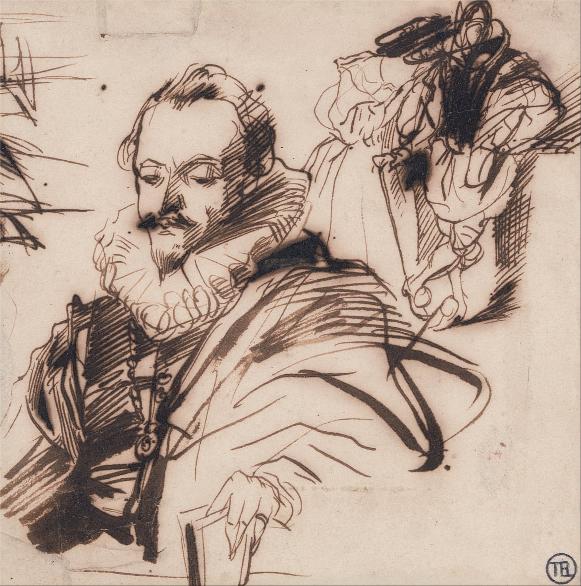 Study of a Gentleman in 17th Century Costume, After Van Dyck by Richard Parkes Bonington