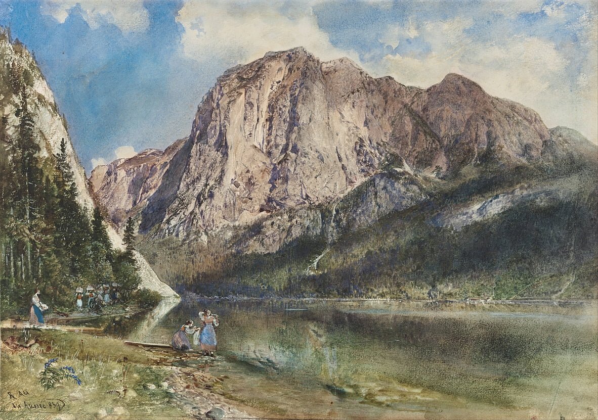 Altaussee Lake and Face of Mount Trissel by Rudolf von Alt
