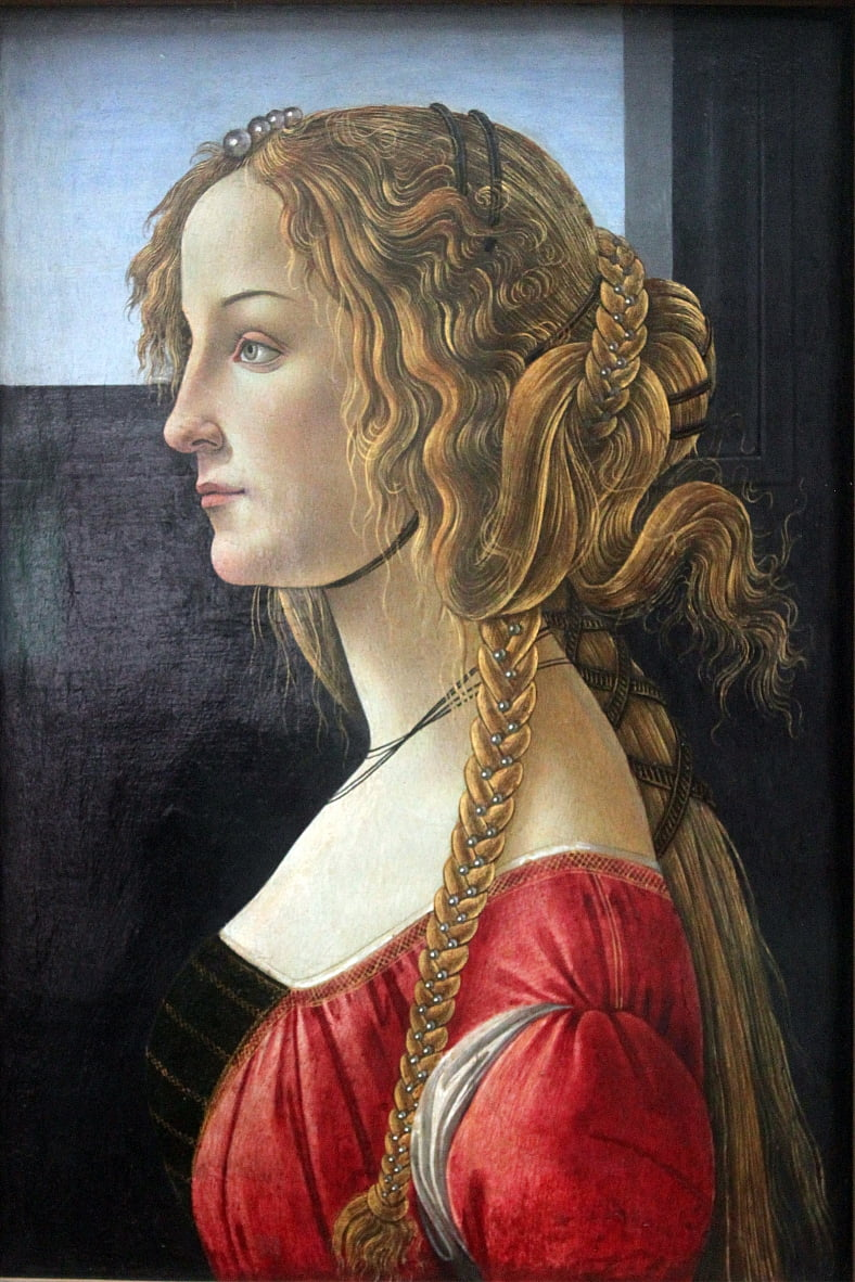Profile portrait of a young woman by Sandro Botticelli