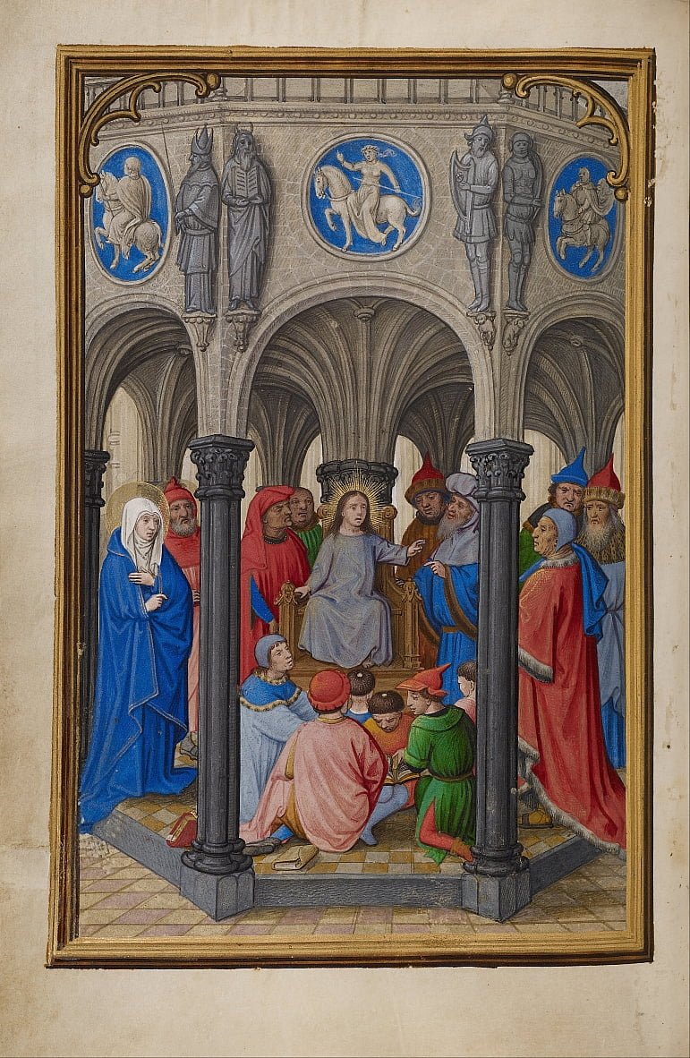 The Dispute in the Temple by Simon Bening