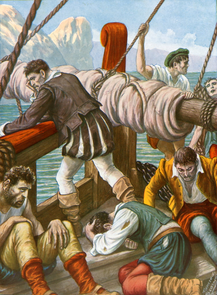 The crew of the Spanish ship Trinidad decimated by hunger and illness by Tancredi Scarpelli