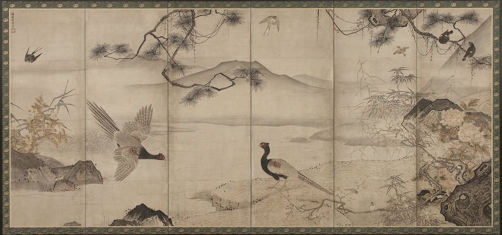 Birds and Flowers of the Four Seasons: Spring and Summer, Muromachi Period, late 15th-early 16th century (ink and colour on paper) by Toyo Sesshu
