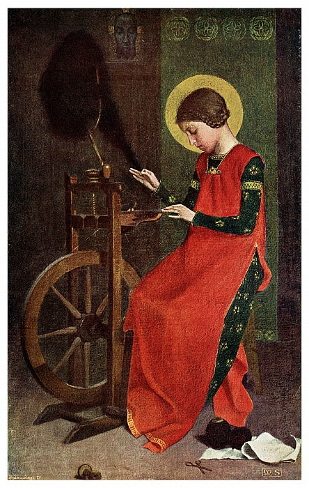 St  Elizabeth of Hungary Spinning Wool for the Poor, 1901 by Unbekannt