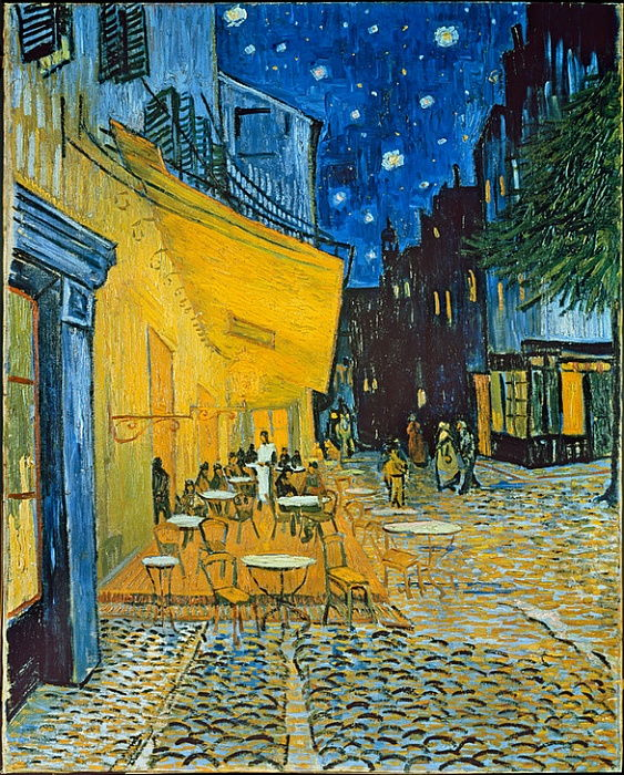 Terrasse des Cafés an der Place du Forum in Arles am Abend by Vincent van Gogh