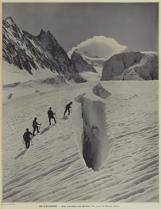 In the Dauphine region of the French Alps: a crevasse on the Glacier Blanc on the Barre des Ecrins  by Vittorio Sella