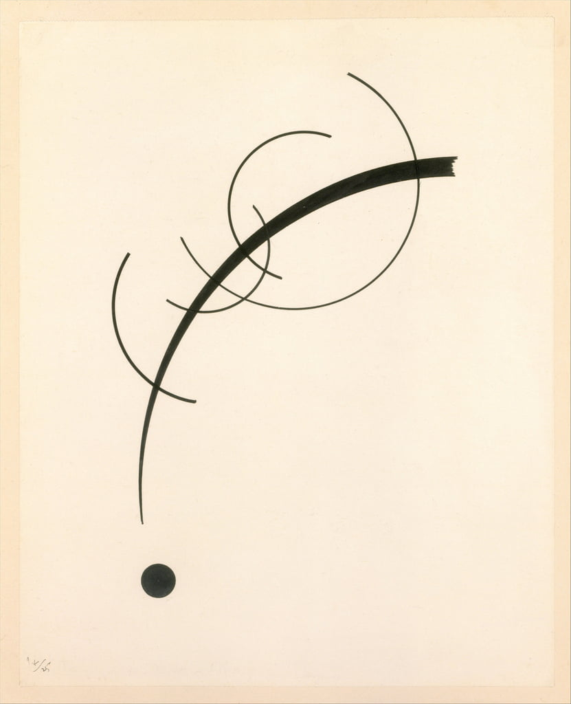 Free Curve to the Point - Accompanying Sound of Geometric Curves, 1925 (ink on paper) by Wassily Kandinsky