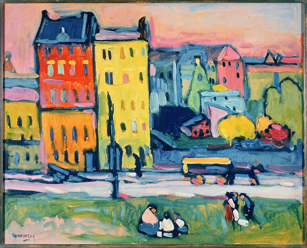 Houses in Munich, 1908 (oil on cardboard) by Wassily Kandinsky