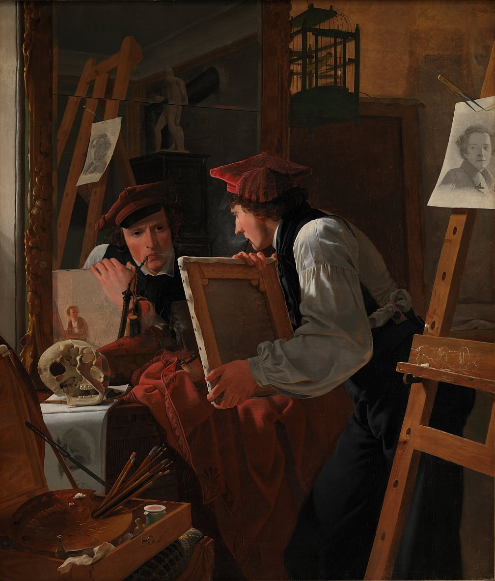 A Young Artist (Ditlev Blunck) Examining a Sketch in a Mirror by Wilhelm Bendz